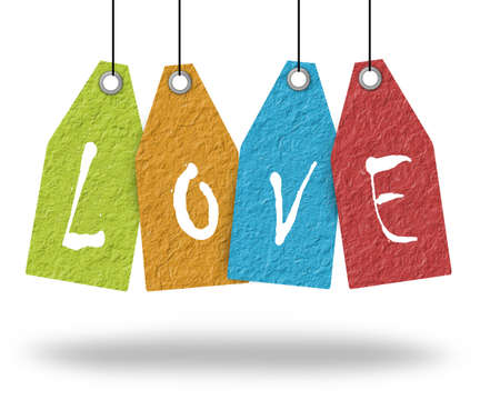 happiness symbol: Paper hang tags, love. Stock Photo