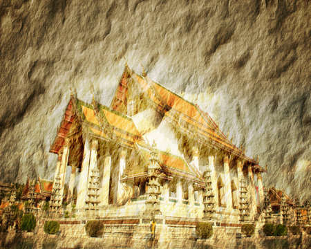 Old paper Temple in Thailand. photo
