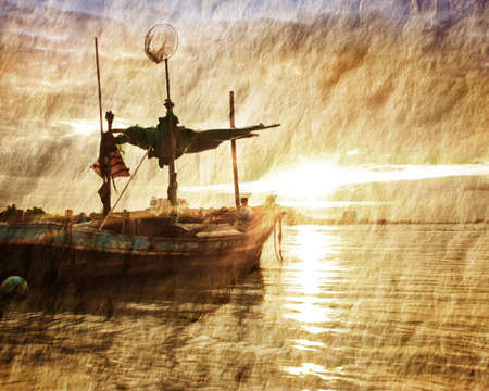 sepia: Old paper Fishing boat Stock Photo