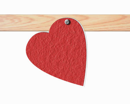 Heart wrapping paper on wooden boards. photo