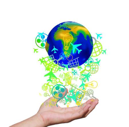 Globe in hand in putting. Stock Photo - 11994558