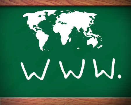 website wide window world write www: Website address drawn in chalk on a blackboard
