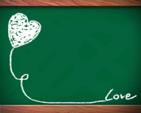 Blackboard heart - love concept. Hand drawing heart with chalk on chalkboard.  photo