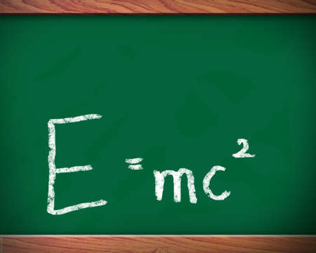 mc2: drawing E = mc2 on the wall blackboard. Stock Photo