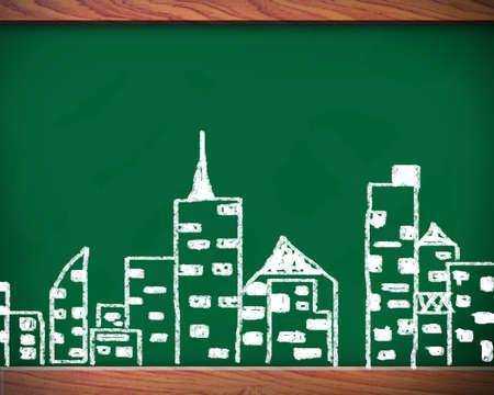 Blackboard has tall buildings. photo