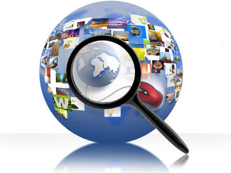 web address: A magnifying Glass is searching the internet