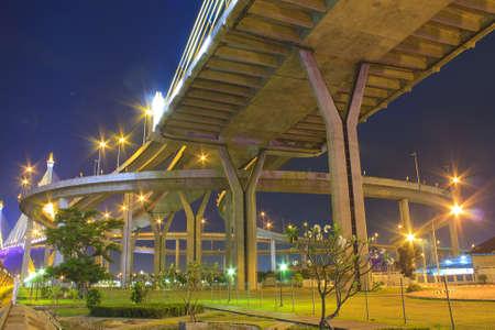 The Grand King Bhumibol Bridge under twilight, Bangkok, photo