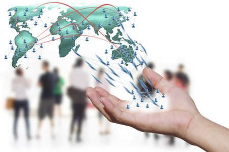 spread the word: Social network concept  people over world map