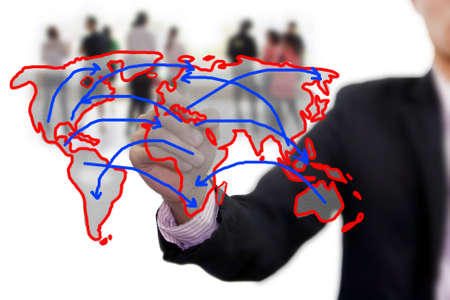 international network: business people team with world map