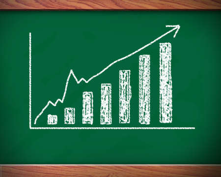 fluctuation: chart shows the revenue progress of a company on a chalkboard   Stock Photo