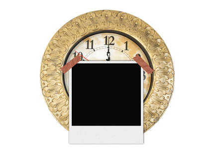 eliminated: old clock  On a white background  filter your photo frame