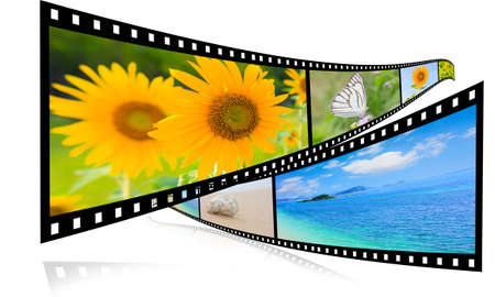 negative spaces: 3D film strip images, sea and sky   Stock Photo
