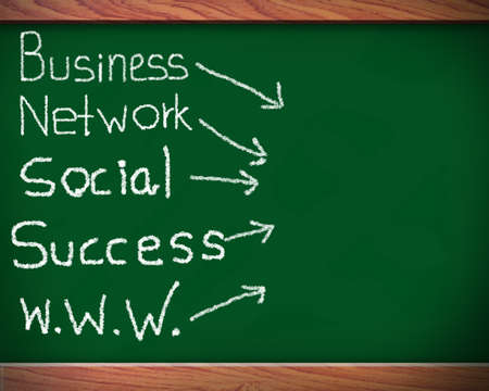 bookmarking: Blackboard with network of business success  Stock Photo
