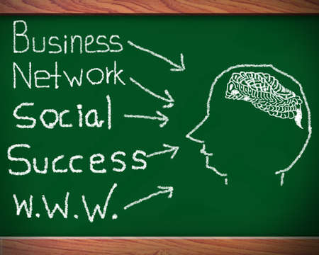 Blackboard with network of business success  Stock Photo - 12986121