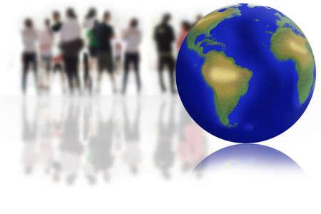 business men conducting global business around the world Stock Photo - 12986108