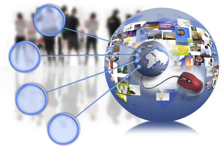web marketing: business people team with world map on the internet connection