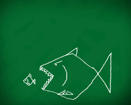 oppress: big fish eats the small  Conceptual image made with chalk on a blackboard