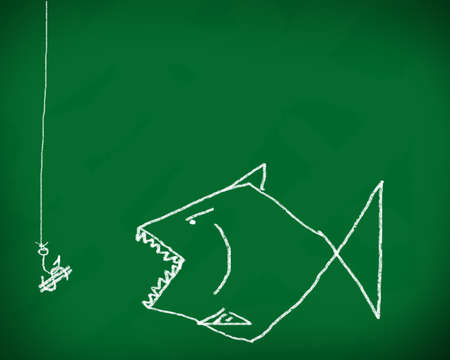 Hook the fish business  on a blackboard  photo