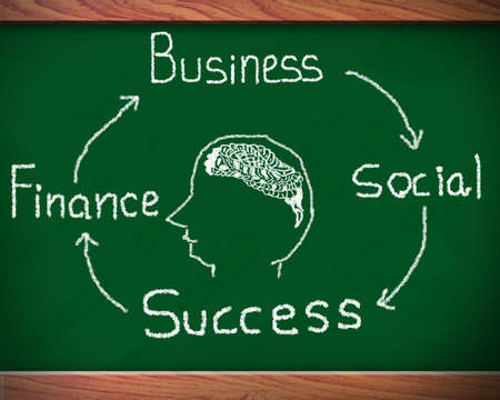 Blackboard with network of business success Stock Photo - 12986154