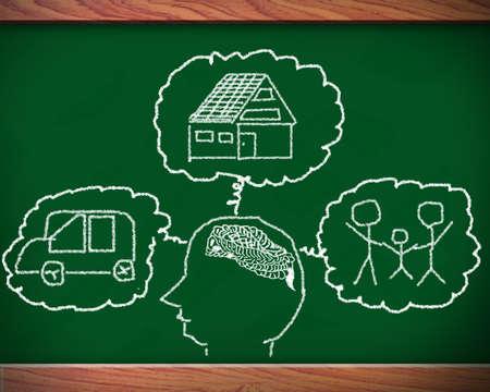Idea blackboard Home, family photo