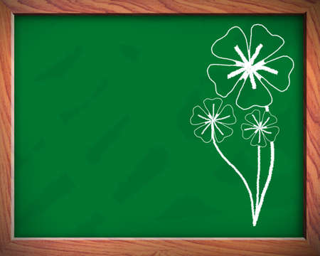 Flowers on the blackboard use in the background Stock Photo - 13050814