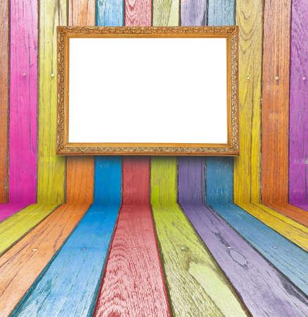 beursvloer: foto's van de kleur op het hout geplaatst Stockfoto