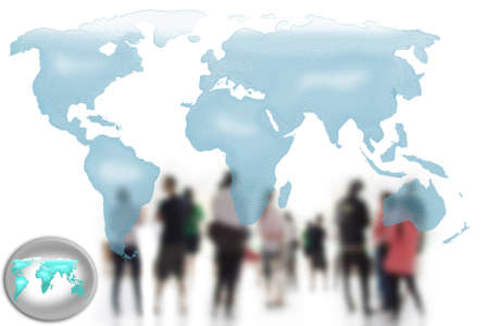business people team world map  Stock Photo - 13130598