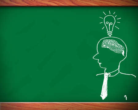 칠판에 다채로운 차트와 인간의 두뇌 그래프 여섯 능력의 개념