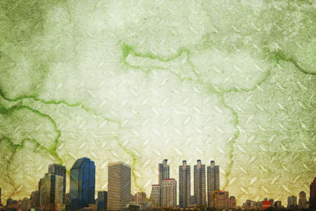 grunge image of cityscape from old paper  photo