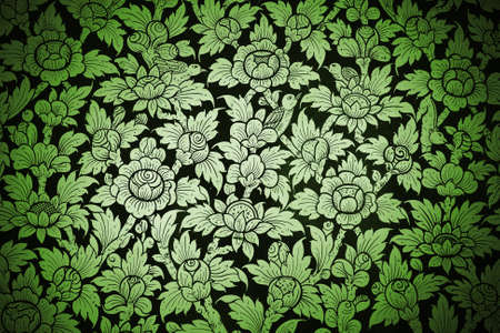 thailand silk: Thai painting on fabric