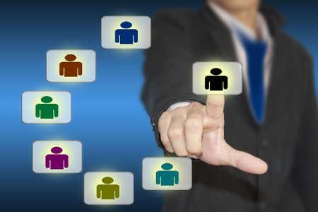 Businessman pressing modern social buttons Stock Photo - 13271794