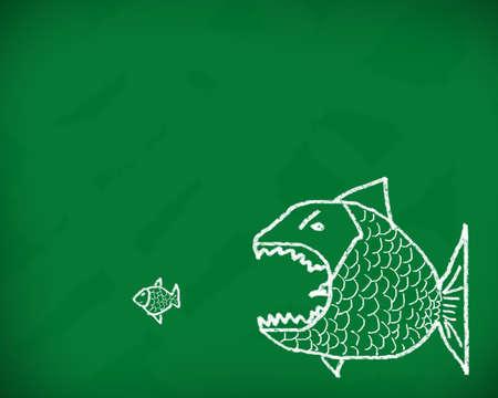 큰 물고기는 칠판에 분필로 만든 작은 개념적 이미지를 먹는다