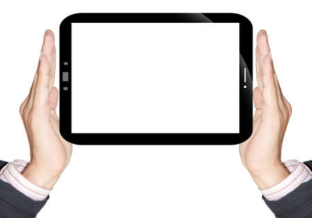 Two hand holding touch screen on gray background Stock Photo - 13318118