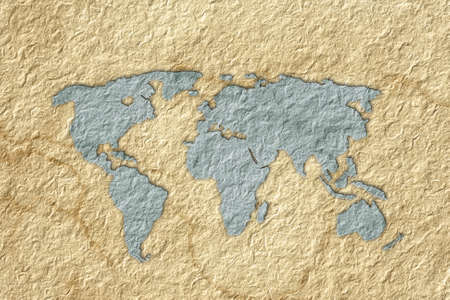 world map recycled paper craft stick on old recycled background Stock Photo - 13318131