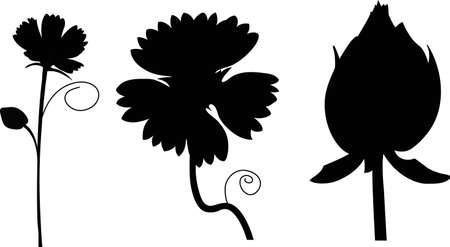 rose silhouette: Set of black flower design elements