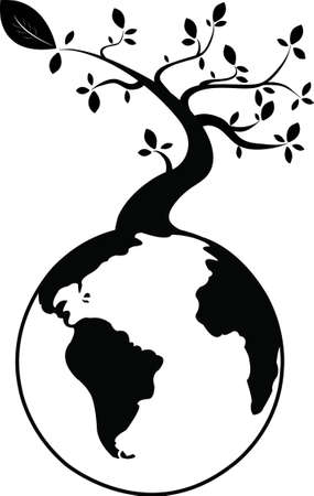 genealogical: black tree on earth