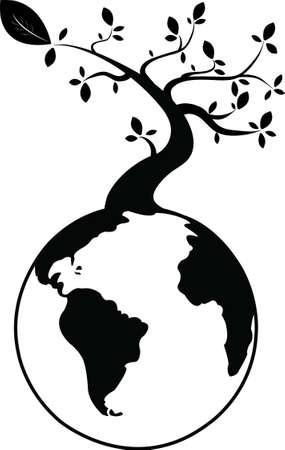 genealogical: �rbol negro en la tierra Vectores