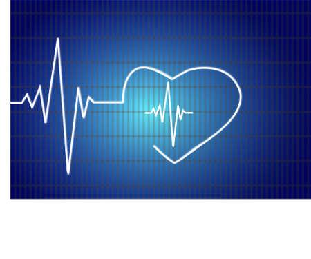 heart ecg trace: Abstract heart beats cardiogram illustration