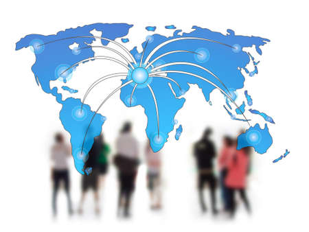 human chain: Social network concept people over world map  Stock Photo