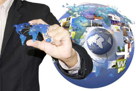 hand press business world Stock Photo - 13526856