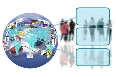 인터넷 연결에 세계지도 함께 비즈니스 사람들이 팀
