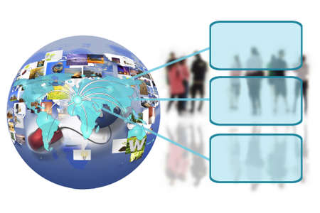 world wide: business people team with world map on the internet connection