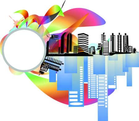 도시의 건물 배경, 아이콘 및 명함