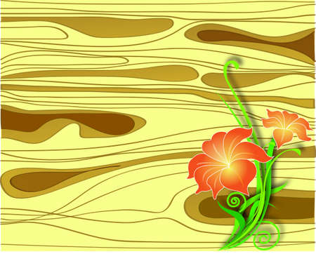Flowers on a wooden board vector Stock Vector - 13587623