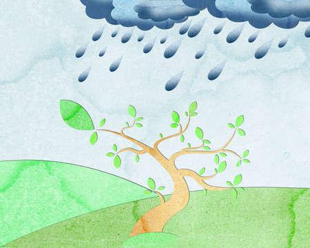 Tree Rain recycled paper photo