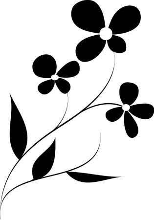 dessin fleur: le mod�le de fleur vectoriel sur fond blanc