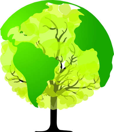 climate change: Environmental concept  Tree forming the world globe in its branches and leaves  Illustration