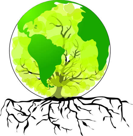 environmental awareness: Environmental concept  Tree forming the world globe in its branches and leaves  Illustration