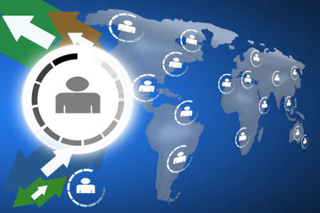 Social network concept on world globe map background photo