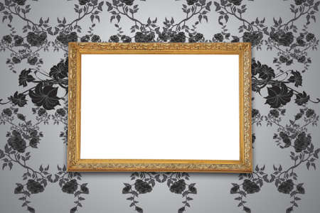 grunge floral faded wallpaper with golden vintage empty frame  Stock Photo - 13661653